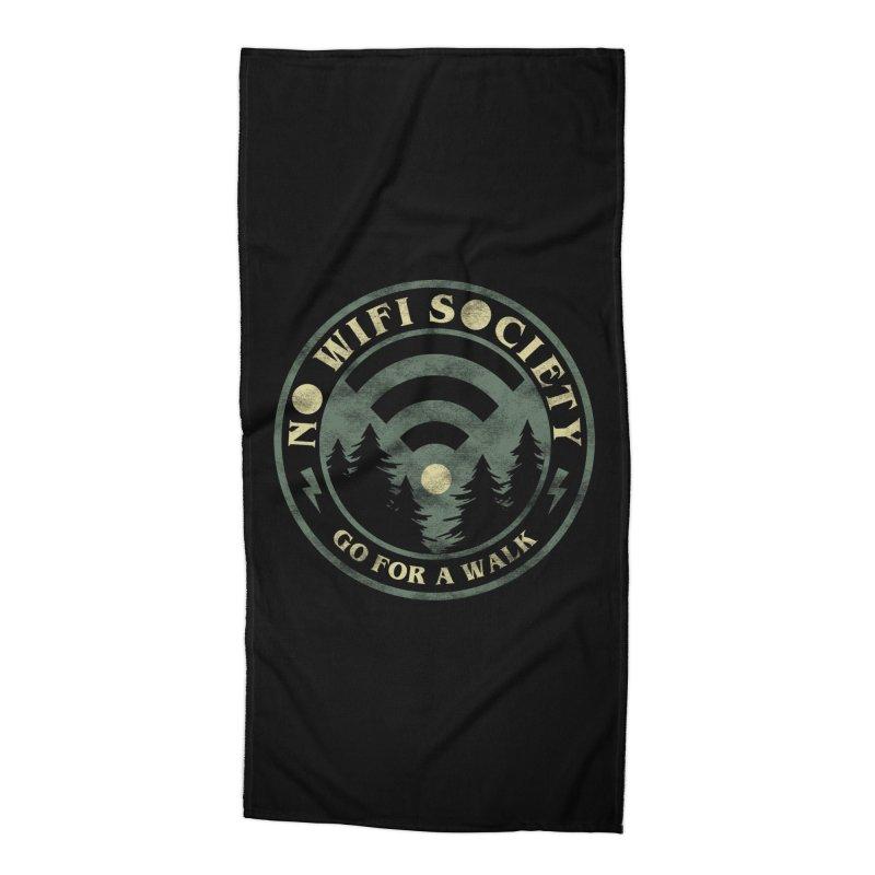 No Wifi Society Accessories Beach Towel by Daniel Stevens's Artist Shop