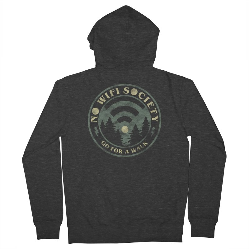 No Wifi Society Men's French Terry Zip-Up Hoody by Daniel Stevens's Artist Shop