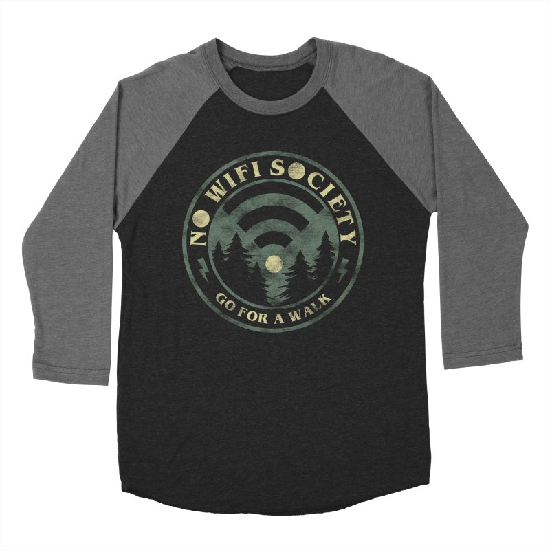 No Wifi Society Men's Baseball Triblend Longsleeve T-Shirt by Daniel Stevens's Artist Shop