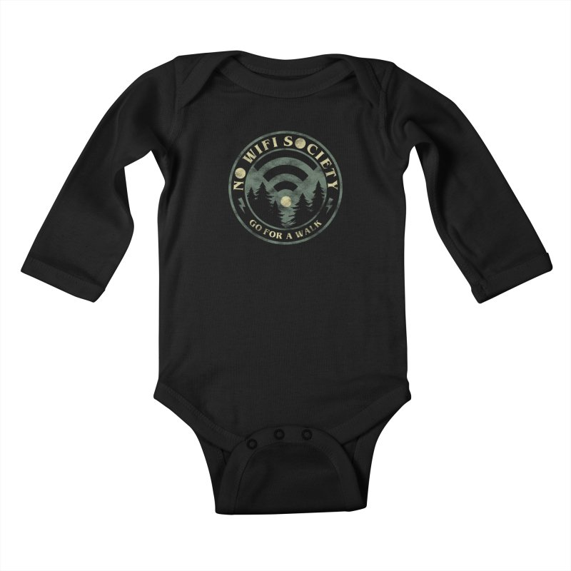 No Wifi Society Kids Baby Longsleeve Bodysuit by Daniel Stevens's Artist Shop