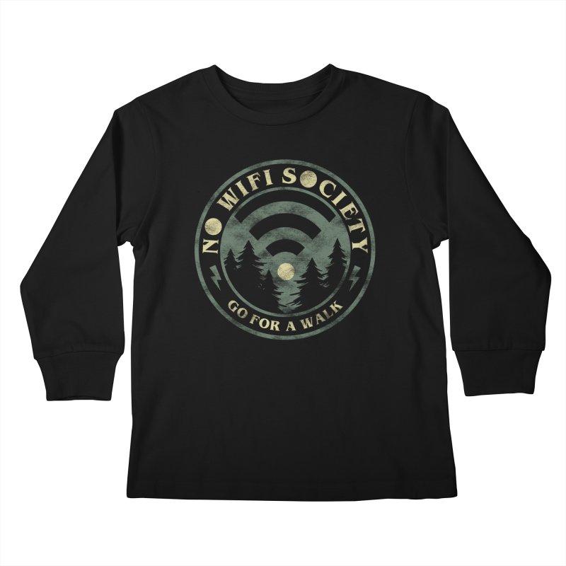 No Wifi Society Kids Longsleeve T-Shirt by Daniel Stevens's Artist Shop