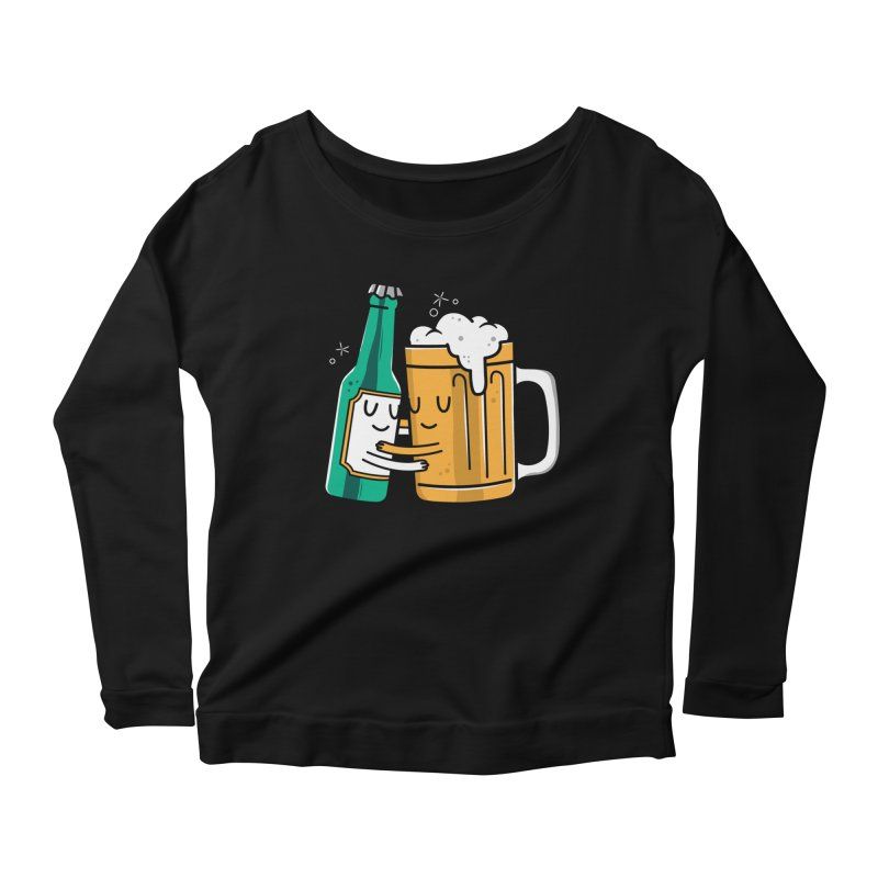 Beer Hug Women's Longsleeve Scoopneck  by danielstevens's Artist Shop