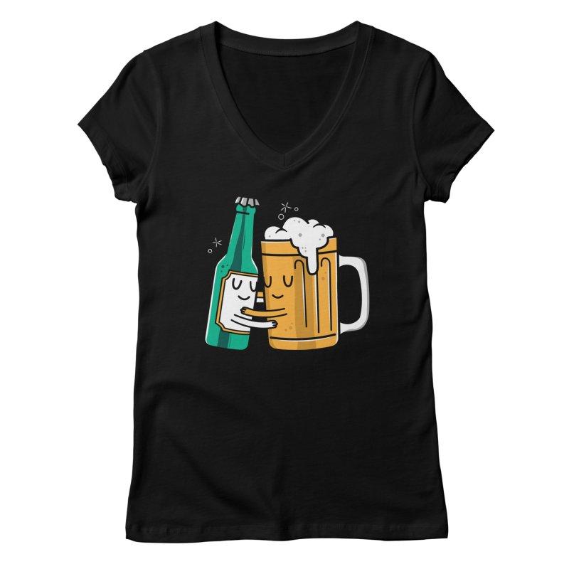 Beer Hug Women's V-Neck by Daniel Stevens's Artist Shop