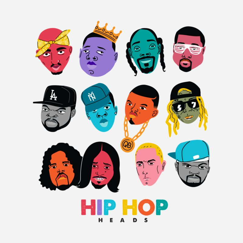 HIP HOP HEADS Kids T-Shirt by Daniel Stevens's Artist Shop