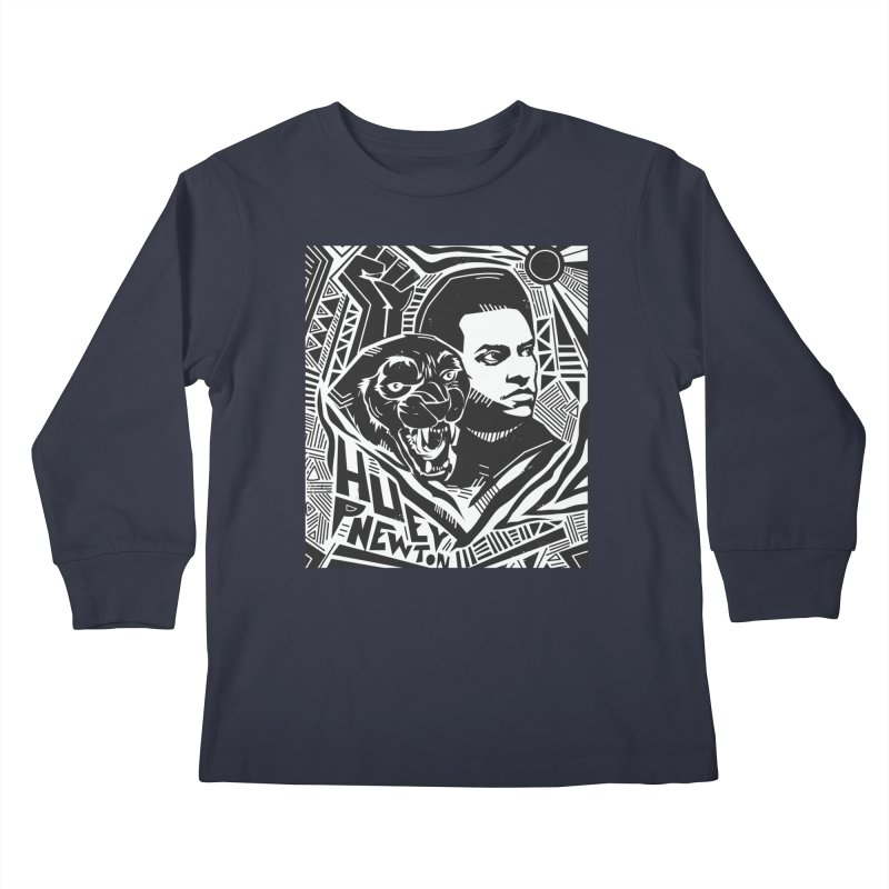Huey P Newton Kids Longsleeve T-Shirt by Daniel Stevens's Artist Shop