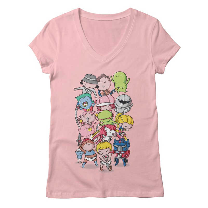 80's Babies Women's V-Neck by Daniel Stevens's Artist Shop