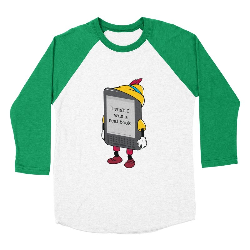 Wish upon an e-book Men's Baseball Triblend Longsleeve T-Shirt by Daniel Stevens's Artist Shop