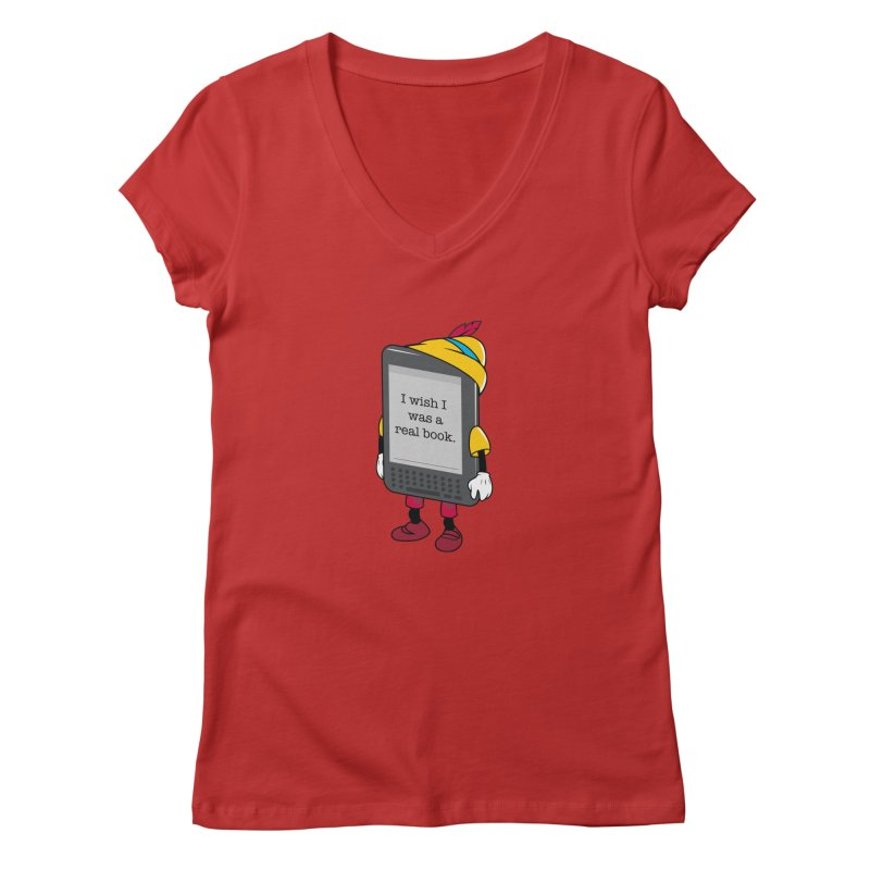 Wish upon an e-book Women's V-Neck by Daniel Stevens's Artist Shop