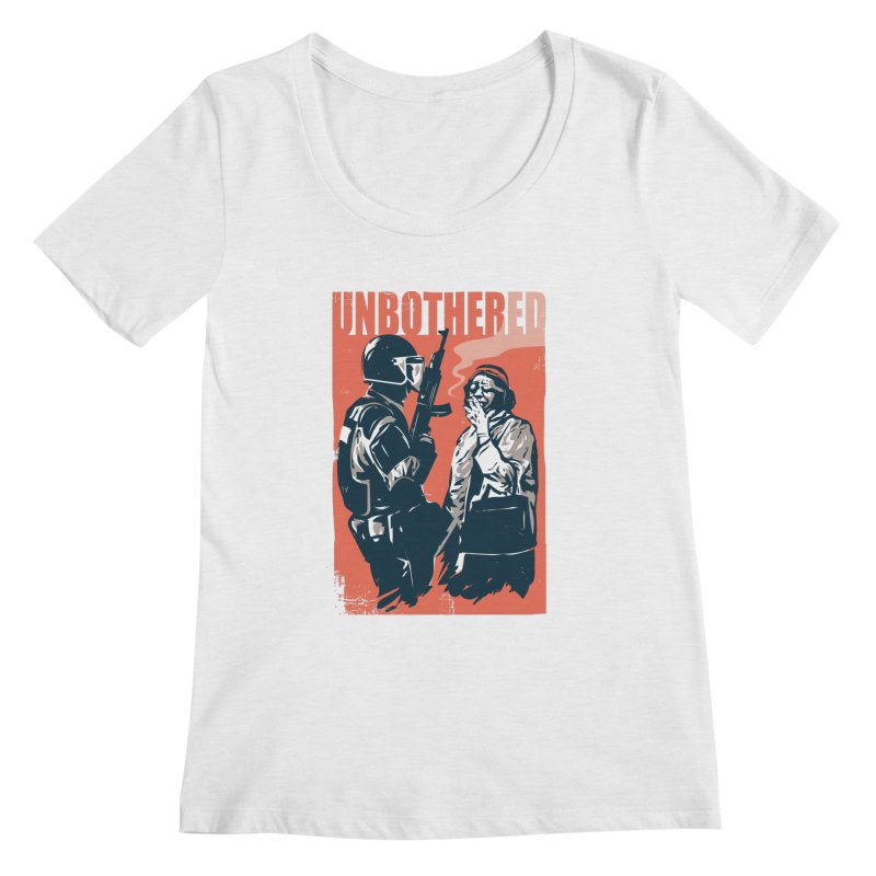 Unbothered Women's Regular Scoop Neck by Daniel Stevens's Artist Shop
