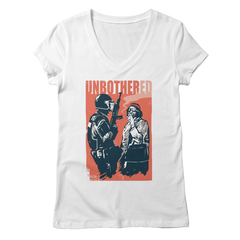 Unbothered Women's Regular V-Neck by Daniel Stevens's Artist Shop