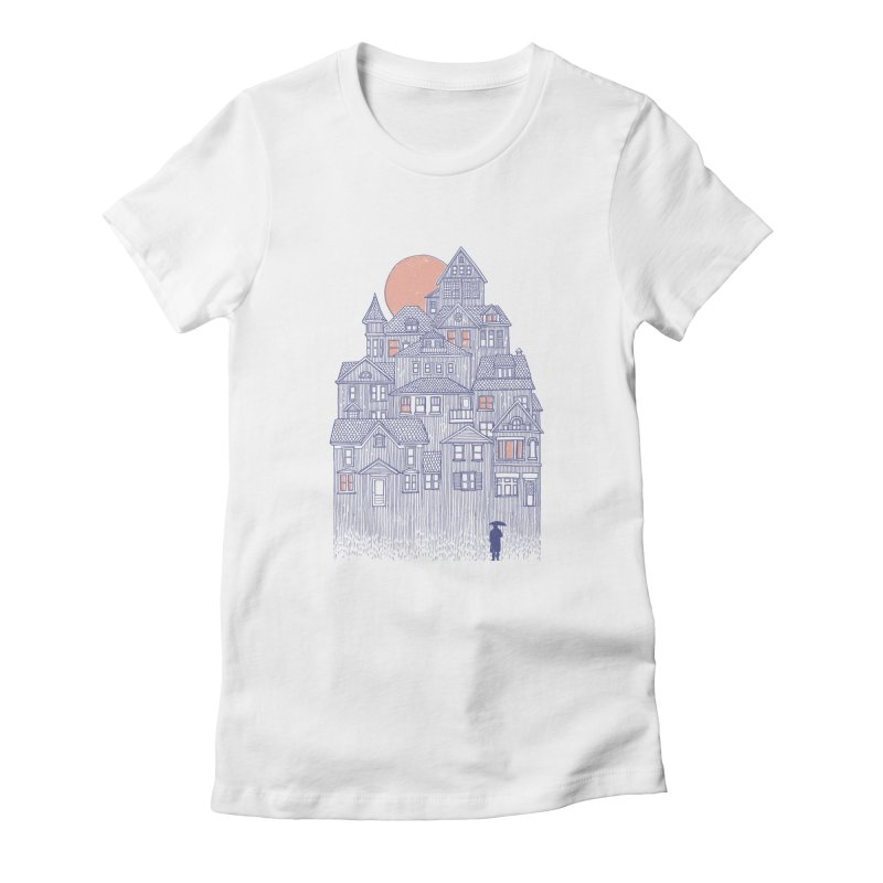 Rainy City Women's Fitted T-Shirt by Daniel Teixeira—Artworks