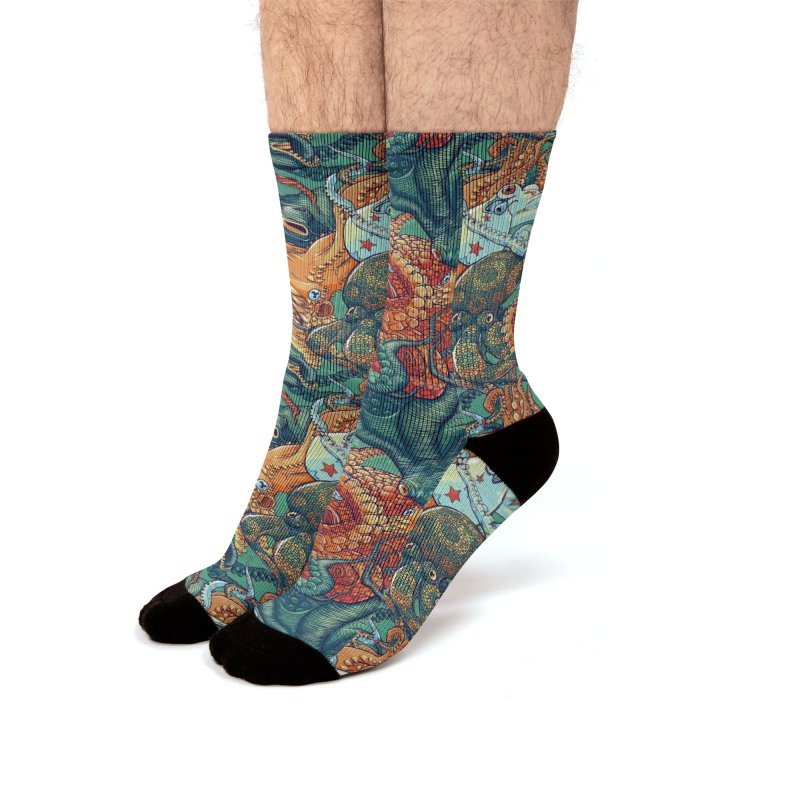 Octopus Party Men's Socks by danilopezstudio's Artist Shop