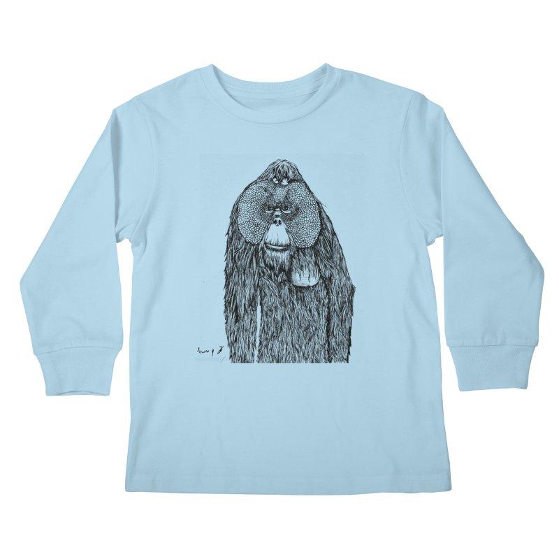 Orangutan Kids Longsleeve T-Shirt by danmichaeli's Artist Shop