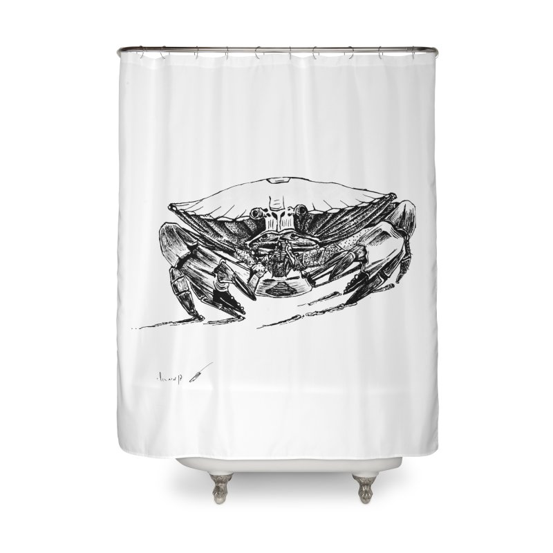 Crab Home Shower Curtain by danmichaeli's Artist Shop
