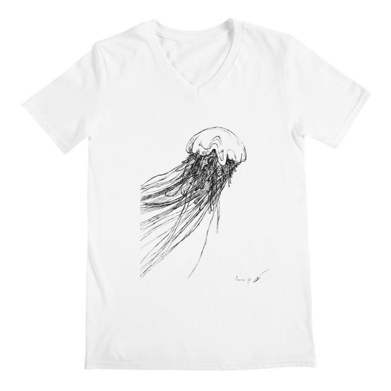 jellyfish Men's V-Neck by danmichaeli's Artist Shop
