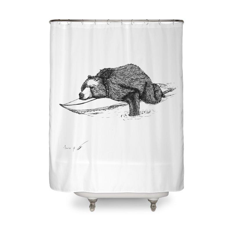 Surfing bear Home Shower Curtain by danmichaeli's Artist Shop