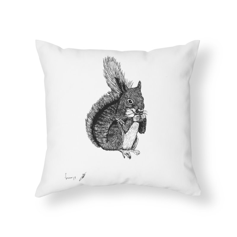 Squirrel Home Throw Pillow by danmichaeli's Artist Shop