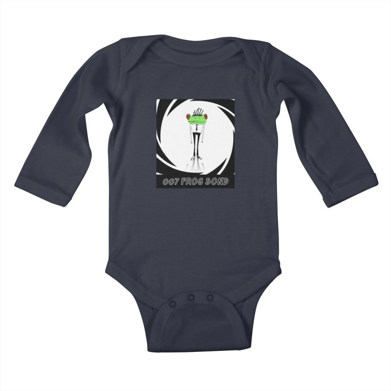 007 Frog Bond Kids Baby Longsleeve Bodysuit by danmichaeli's Artist Shop
