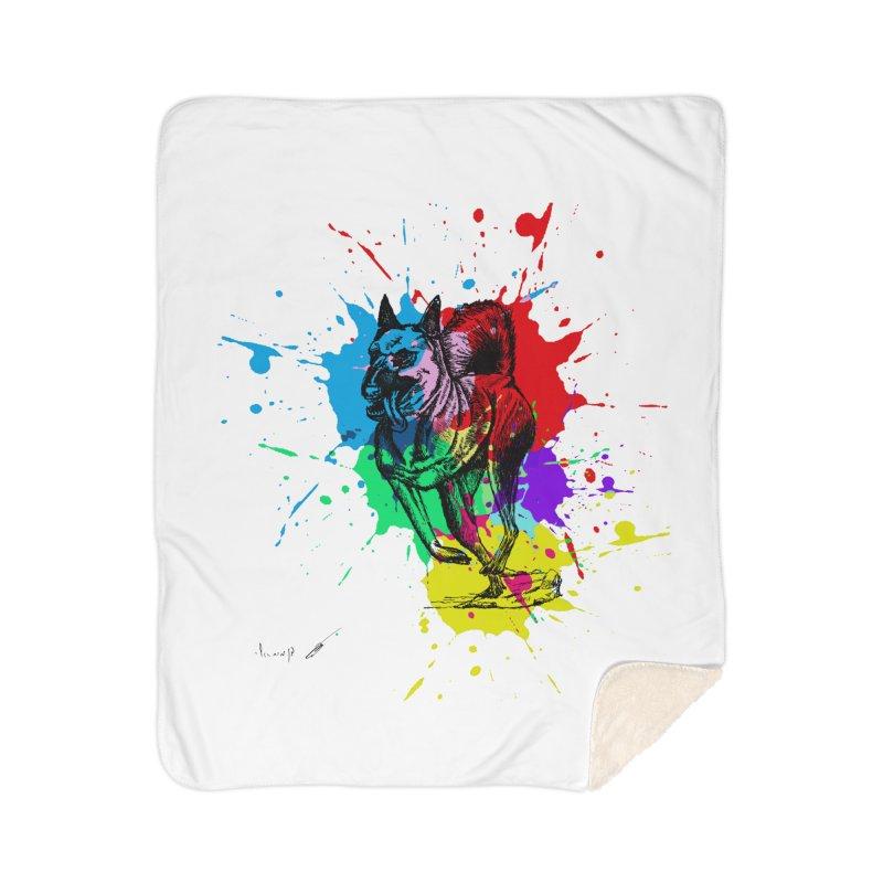 3 leg dog Home Blanket by danmichaeli's Artist Shop