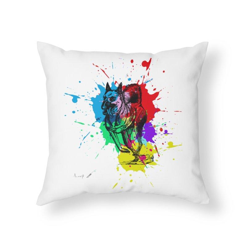 3 leg dog Home Throw Pillow by danmichaeli's Artist Shop