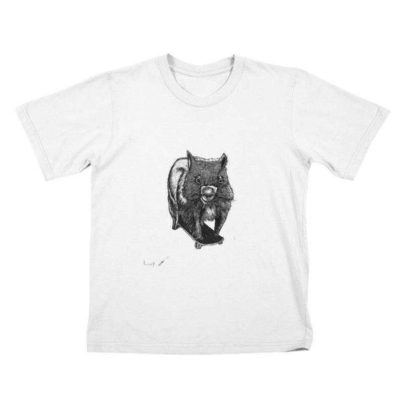 Wombat ride a skateboard Kids T-Shirt by danmichaeli's Artist Shop