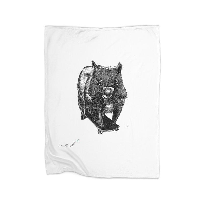Wombat ride a skateboard Home Blanket by danmichaeli's Artist Shop