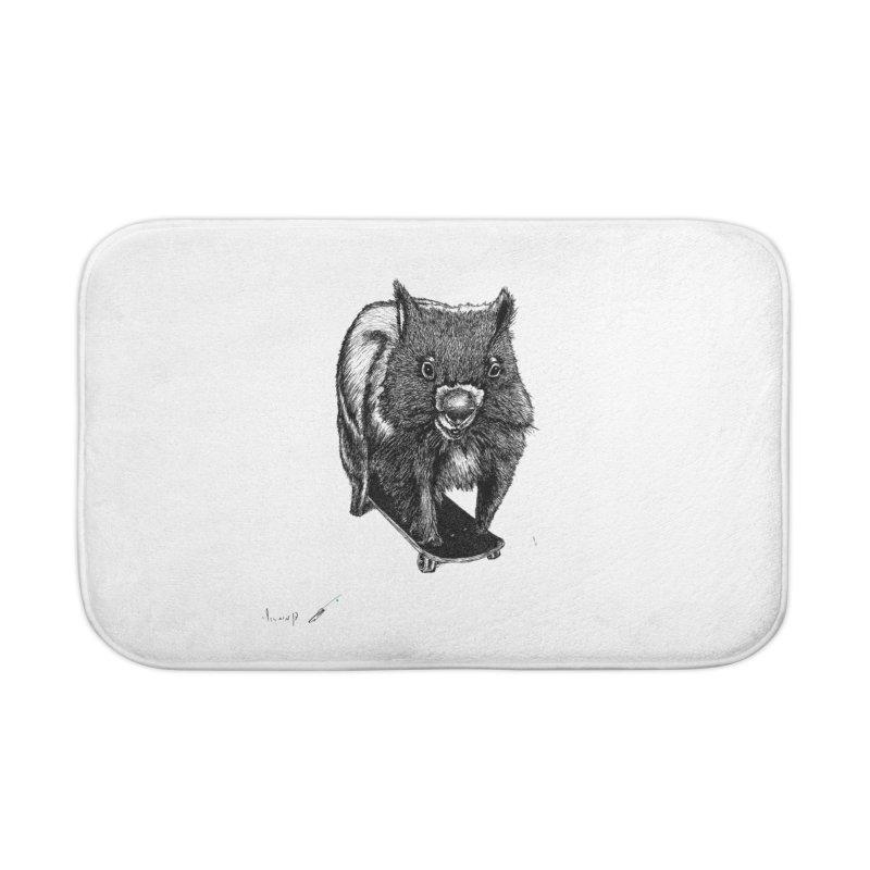 Wombat ride a skateboard Home Bath Mat by danmichaeli's Artist Shop