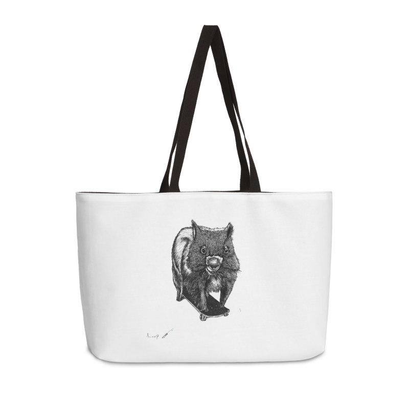 Wombat ride a skateboard Accessories Bag by danmichaeli's Artist Shop