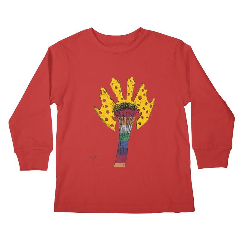 Monster cheese sock :) Kids Longsleeve T-Shirt by danmichaeli's Artist Shop