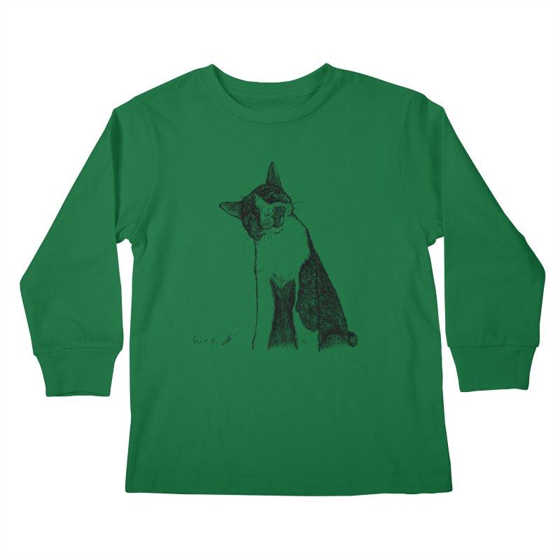 Cat Clear Kids Longsleeve T-Shirt by danmichaeli's Artist Shop