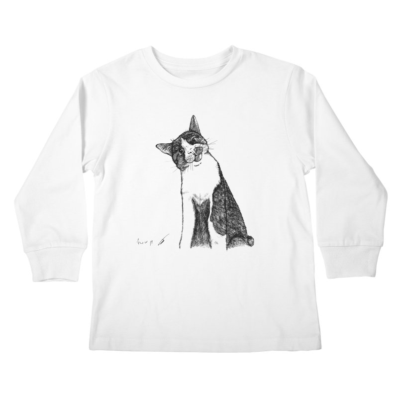 Cat Clear Kids Longsleeve T-Shirt by danmichaeli's Artist Shop