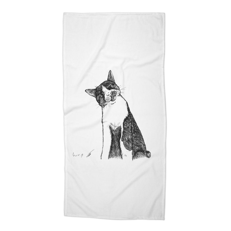 Cat Clear Accessories Beach Towel by danmichaeli's Artist Shop