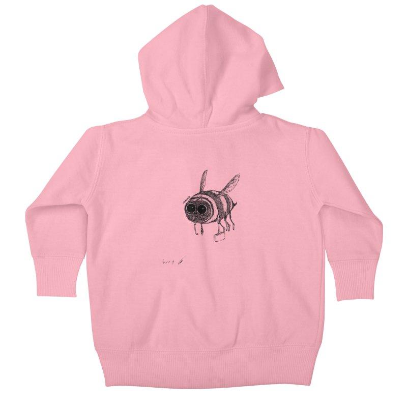 Busy bee gray Kids Baby Zip-Up Hoody by danmichaeli's Artist Shop