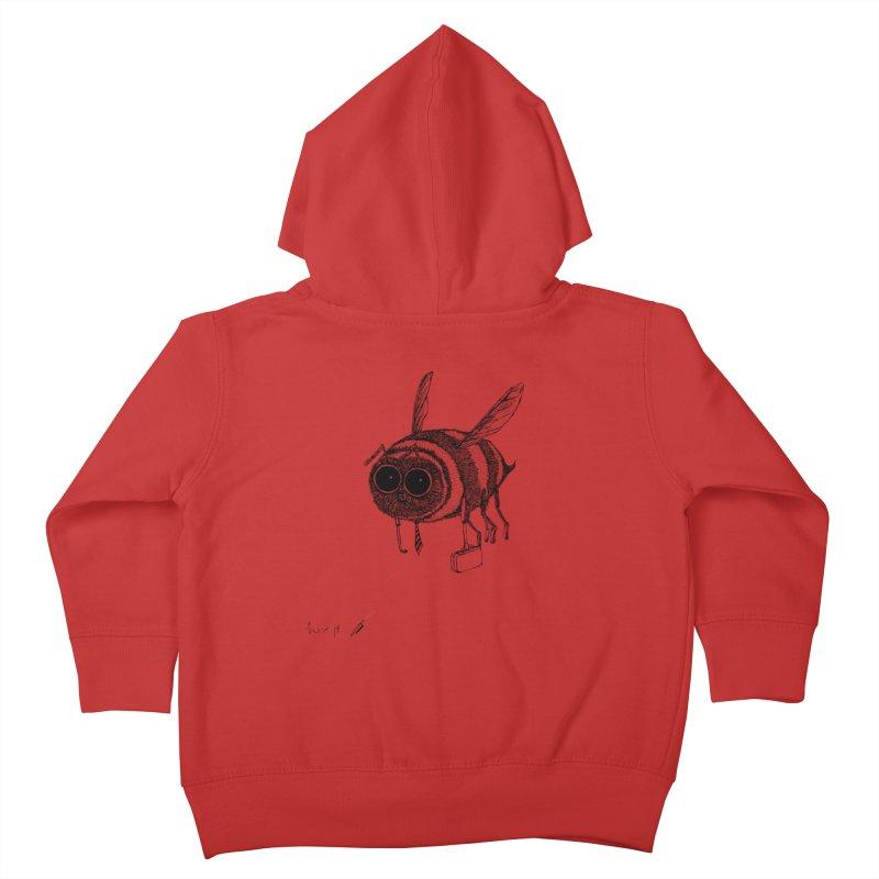 Busy bee gray Kids Toddler Zip-Up Hoody by danmichaeli's Artist Shop