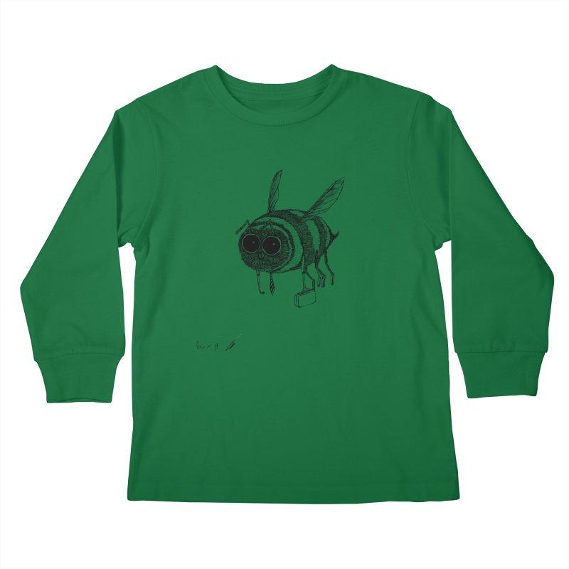 Busy bee gray Kids Longsleeve T-Shirt by danmichaeli's Artist Shop