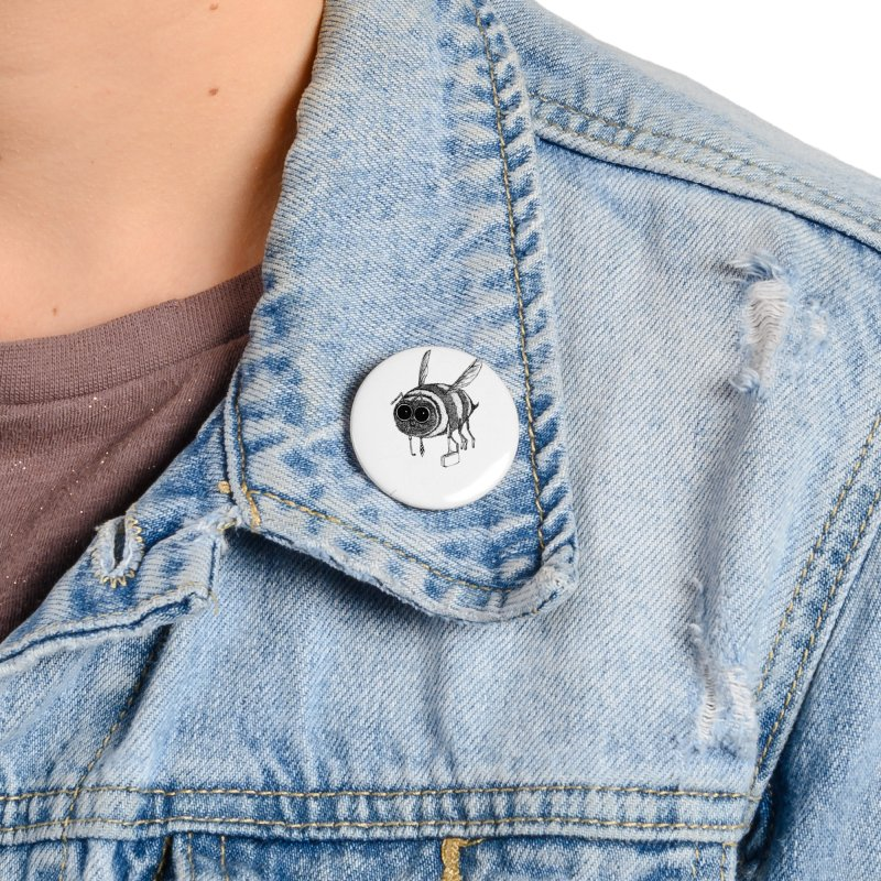 Busy bee gray Accessories Button by danmichaeli's Artist Shop
