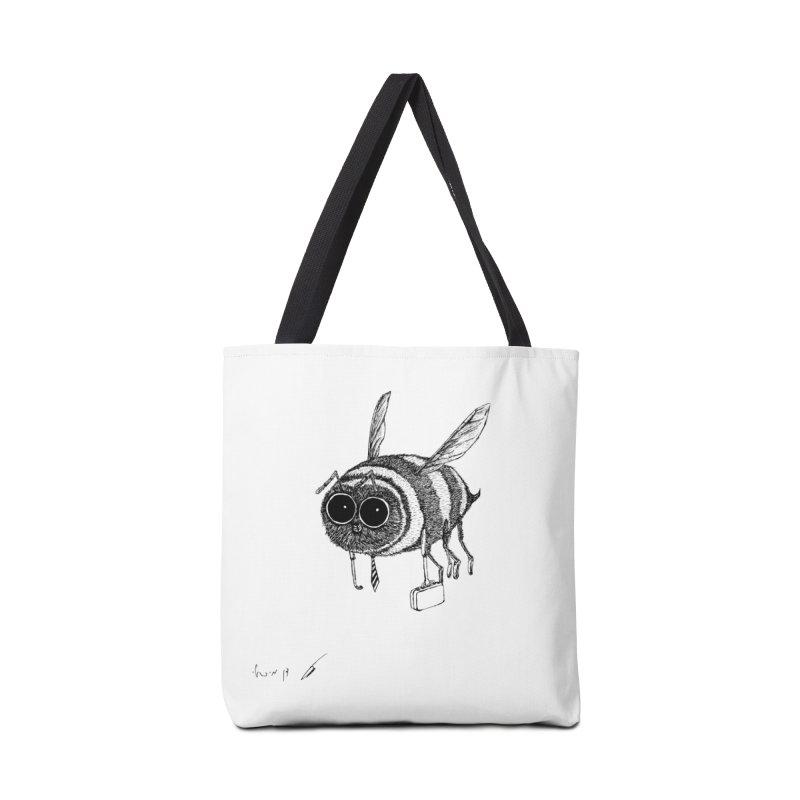 Busy bee gray Accessories Bag by danmichaeli's Artist Shop