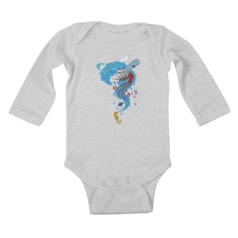Seaside Kids Baby Longsleeve Bodysuit by Dannomyte's Artist Shop