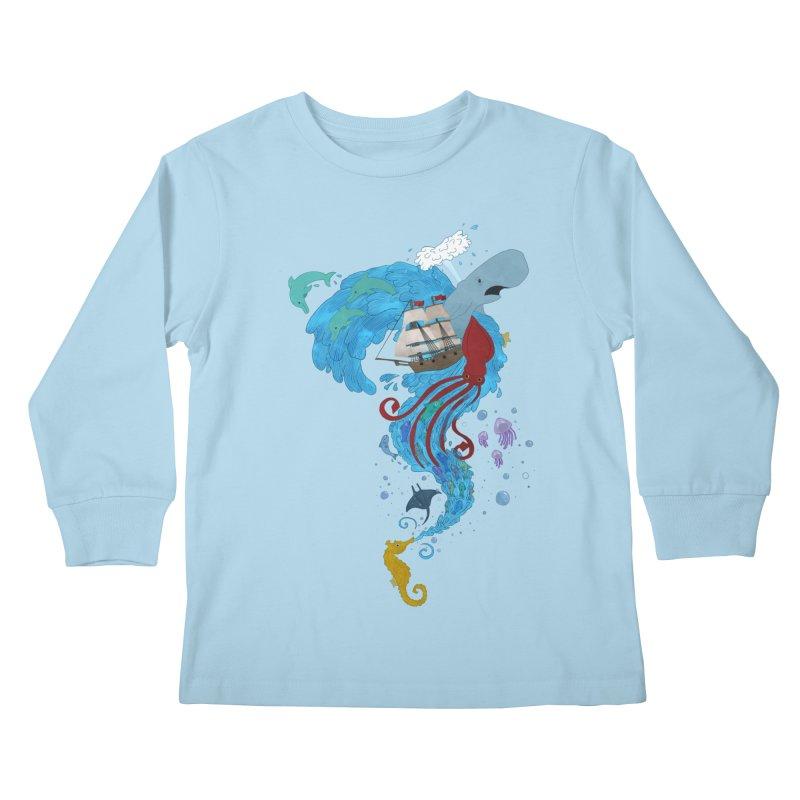 Seaside Kids Longsleeve T-Shirt by Dannomyte's Artist Shop