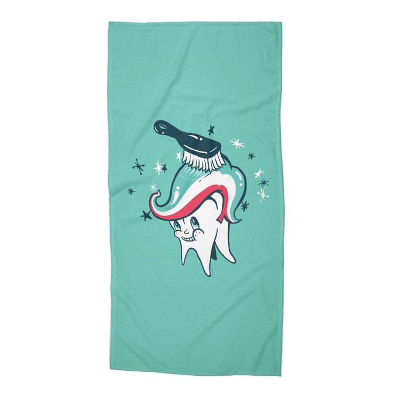 Toothbrush Accessories Beach Towel by danrule's Artist Shop