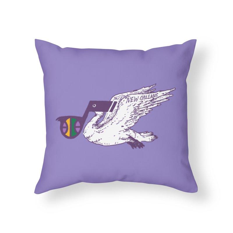 Jazzy Pelican Home Throw Pillow by Dan Rule's Artist Shop