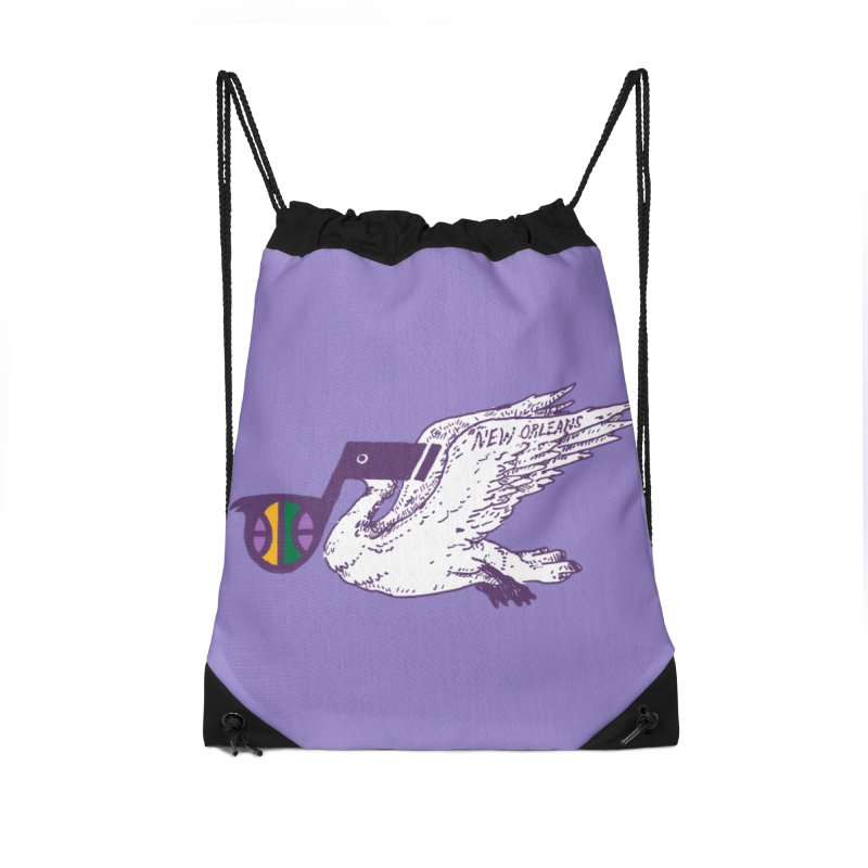 Jazzy Pelican Accessories Drawstring Bag Bag by Dan Rule's Artist Shop