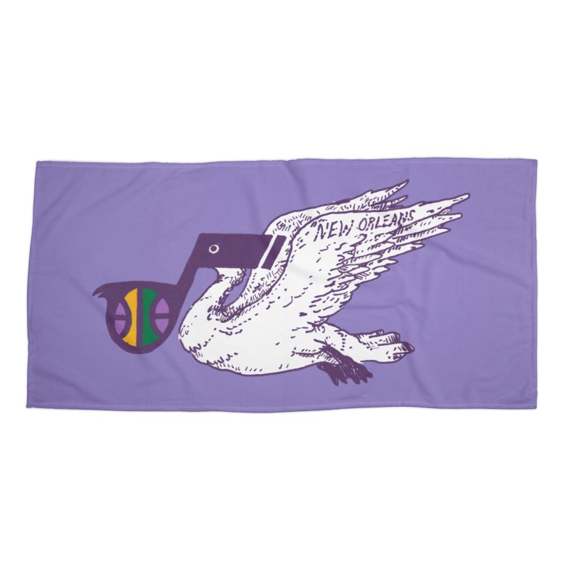 Jazzy Pelican Accessories Beach Towel by Dan Rule's Artist Shop