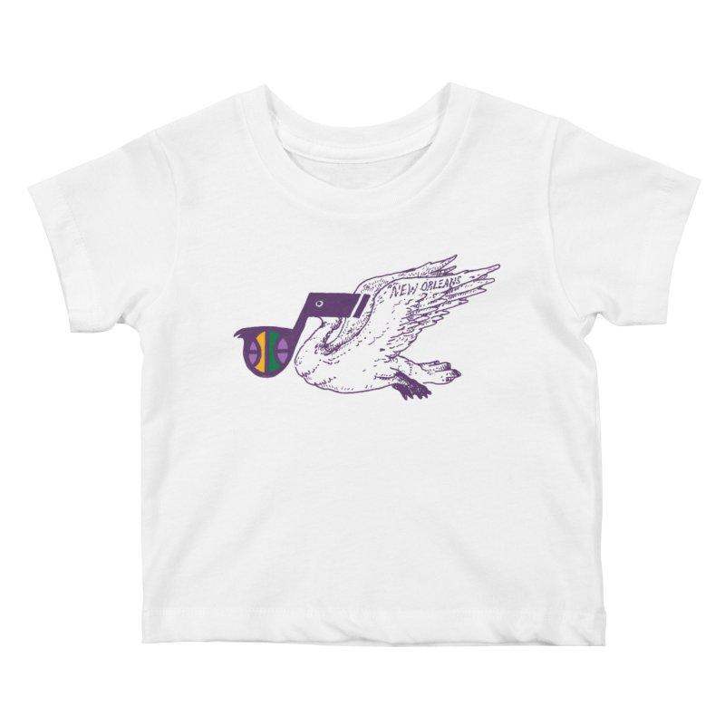 Jazzy Pelican Kids Baby T-Shirt by Dan Rule's Artist Shop