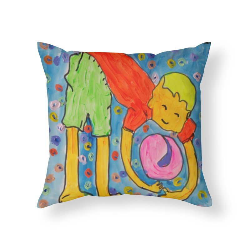 Ball (and) boy II Home Throw Pillow by Darabem's Artist Shop. Darabem Collection