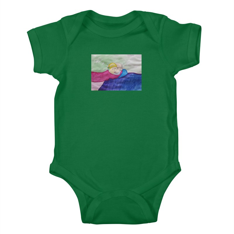 Couple in peaceful place Kids Baby Bodysuit by Darabem's Artist Shop. Darabem Collection