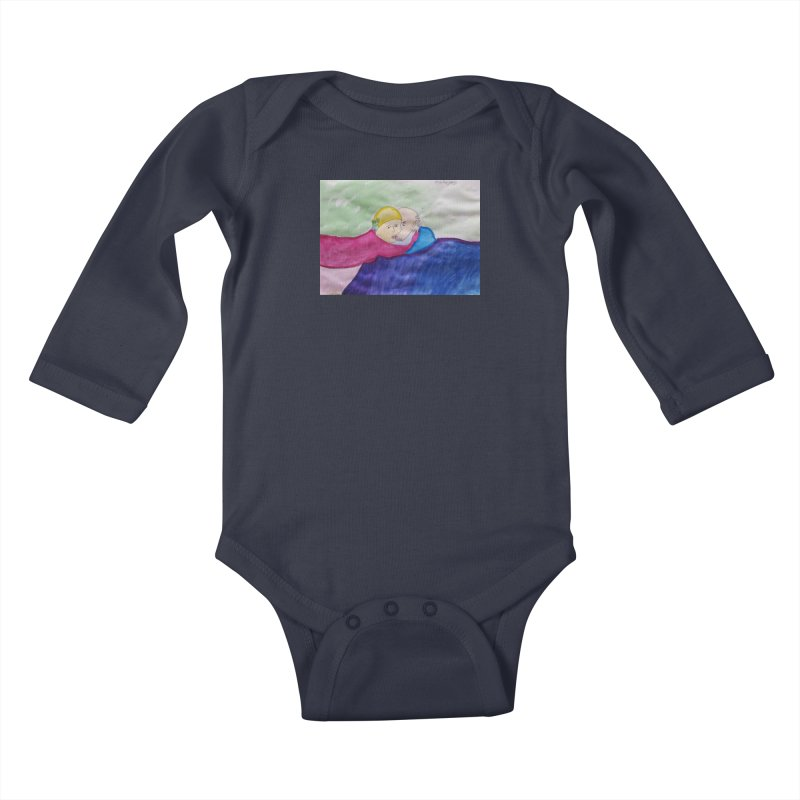 Couple in peaceful place Kids Baby Longsleeve Bodysuit by Darabem's Artist Shop. Darabem Collection