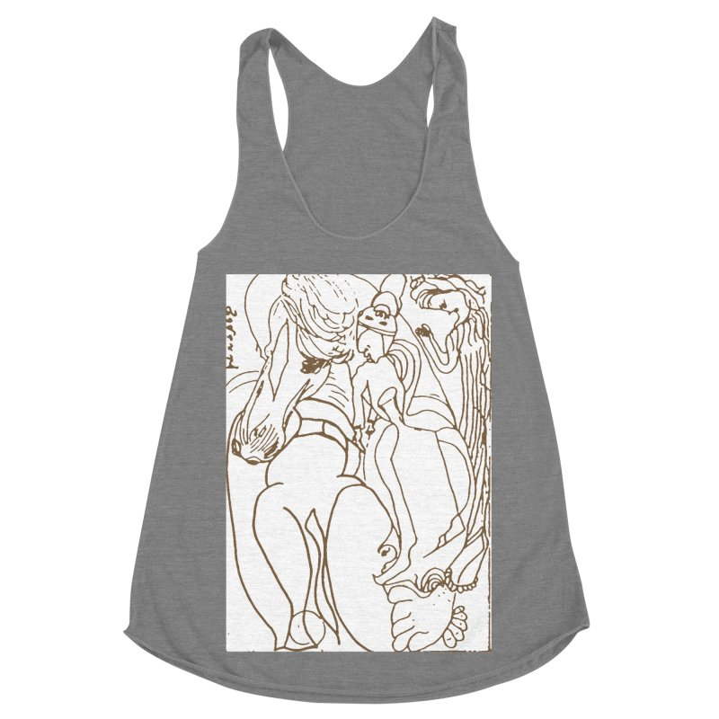 Horse in the casting Women's Racerback Triblend Tank by Darabem's Artist Shop. Darabem Collection