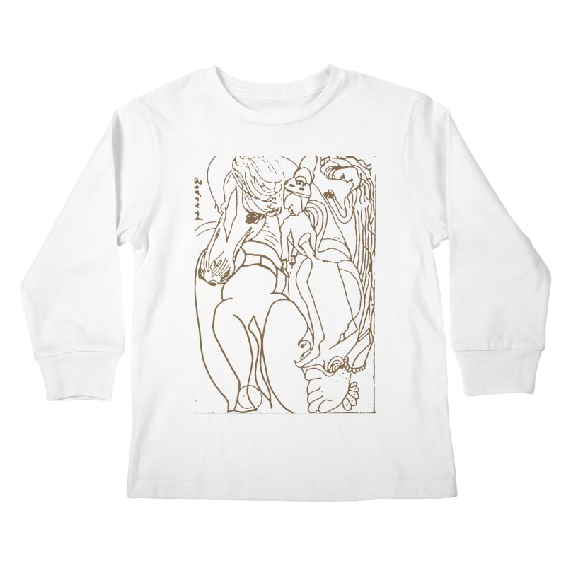 Horse in the casting Kids Longsleeve T-Shirt by Darabem's Artist Shop. Darabem Collection