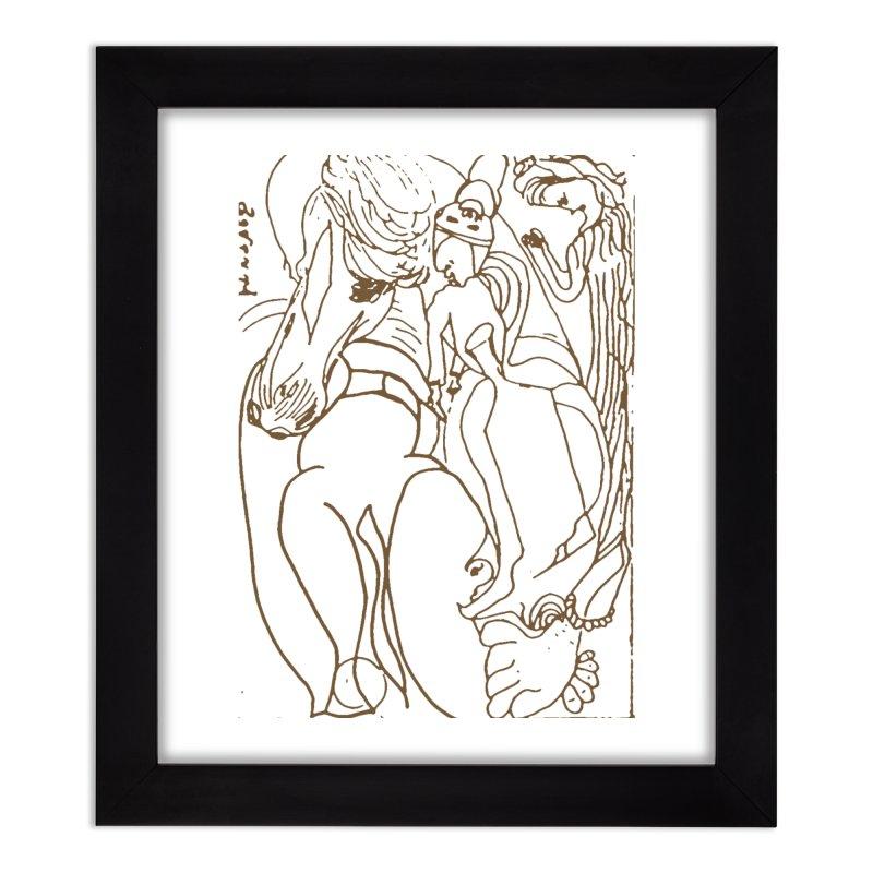 Horse in the casting Home Framed Fine Art Print by Darabem's Artist Shop. Darabem Collection